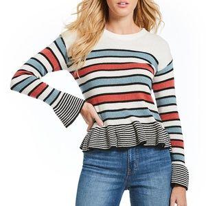 Ella Moss Blue Hayden Striped Bell Sleeve Sweater.